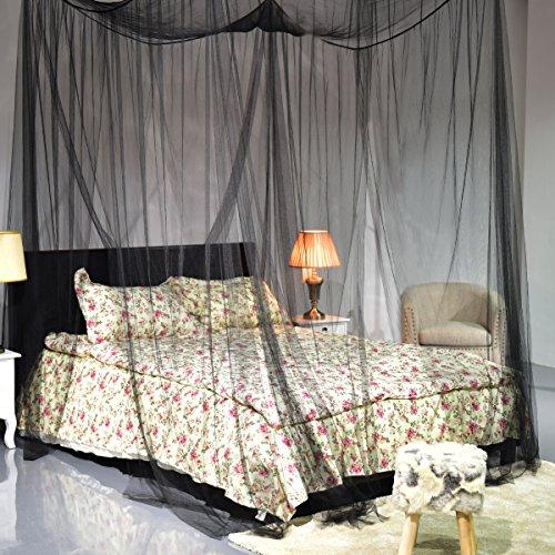 COSTWAY Moskitonetz Betthimmel Mückennetz Baldachin Bettdekoration 220x200x210cm schwarz