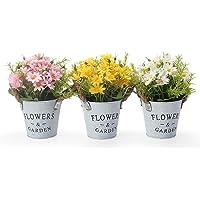 GoMaihe Fleurs Artificiels Interieur 3 pcs, Fleurs Artificielles avec Pot en Métal Artificielle Plante Decoration pour…