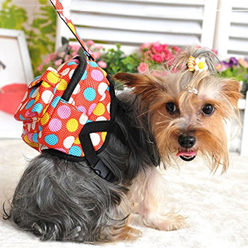 Happy-L Heimtierbedarf, Haustier-Kreis-Wellen-Punkt der Hundekleiner Rucksack Haustier-eigener Rucksack mit dem Abschleppseil, klein, Kastenmaß: 30-42cm (Farbe : Rot) -