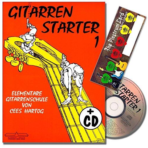 Gitarrenstarter Band 1 - Gitarrenschule mit CD für Anfänger von Cees Hartog - mit Musik-Schubert Plektrum-Card© (Claire De Lune Noten)