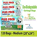 Naksam Biodegradable Garbage Bags Medium Size (20 X 24 inch) for Home,Office. 120