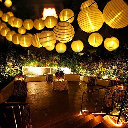 Qedertek luci solare esterno 6m 30 led con lanterna impermeabile catena luminosa solare per decorazione di giardino luci stringa solare per esterno patio balcone terrazza pasquale (bianca calda)