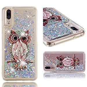Roreikes Huawei P20 Glitzer Hülle, Luxus Flüssig Treibsand Flüssigkeit Tasche Transparent Schutzhülle Silikon Weich TPU Stoßdämpfung Bumper Handyhülle für Huawei P20 Durchsichtig Case 5.8 Zoll
