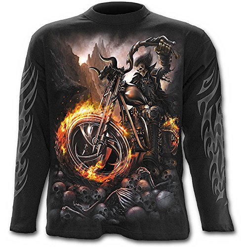 Spiral Wheels of Fire Langarm Shirt, schwarz (Langarm-t-shirt Knochen)