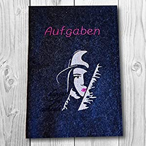 A5 Hefthülle in versch. Farben - Text wählbar - Motiv: Skaterin
