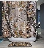 CFSD 71 * 71 '' (180x180cm) Stampa 3D Poliestere Impermeabile Muffe Tende da Doccia Bagno Decorativo 12 Tenda da Doccia Ganci e tappetini (Albero Secco)
