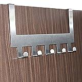 #6: HOME CUBE® Adhesive 5 Stainless Steel Door Hook Organiser / Wall Hook Hanger for hanging Clothes, Jeans, Umbrellas, Jackets, Scarfs, Bags, Keys, Towel in Room, Kitchen, Bathroom etc