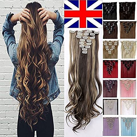 S-noilite-8PCS 24-26 inches Highlight Straight Wavy Curly Full Head Clip in Hair Extensions 18Clips Women Lady Hairpiece(24