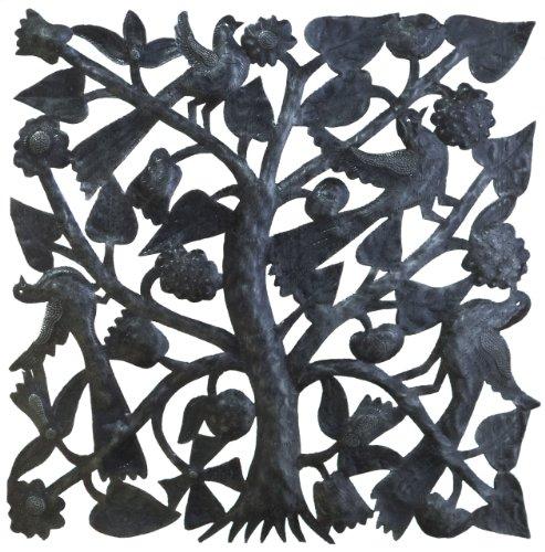 Le Primitif Galerien haitianischen recyceltem Stahl Öl Drum Outdoor Decor, 23von 23, quadratisch Baum des Lebens -