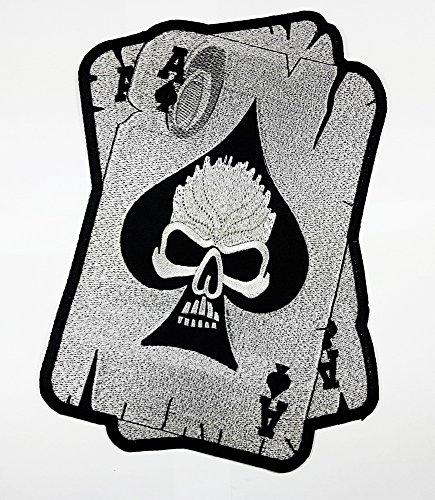 Big Ace of Spades Skull Head Poker Karte Metall Tattoo Patch Weste/Jacke Biker Patch Motorrad Fahrer Biker Tattoo Jacke T-Shirt Patch Sew Iron on gesticktes Schild Badge (Biker Motorrad Metall Schild)