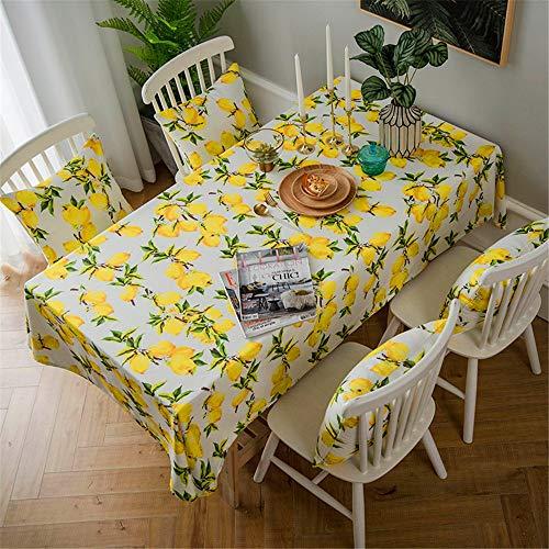SONGHJ Zitrone Druck Dekorative Leinen und Baumwolle wasserdicht Tischdecke tischdecke Rechteckige Tisch Abdeckung Home Hotel Textil F02 135x200cm - Damast-baumwolle-abdeckung