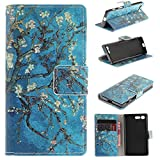 Sony Xperia XCompact Case Cover [Anti-Scratch][Waterproof], Cozy Hut Practical Fashionable Creative Retro Patterns PU Folio Leather Wallet Designer Flip Magnetic with [Wrist Strap] and [Card Holder Slot] Shock Absorber Full Body Protection Holster Case Cover Skin Shell for Sony Xperia XCompact 4,6inch - Pear