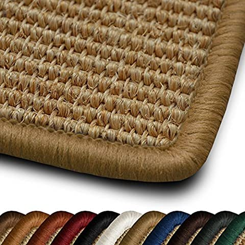 casa pura® Salvador Natural Sisal Rug with Beige Border, 100x150cm | 11 Colours, 15 Sizes - Non Slip Latex Backing, Anti Static