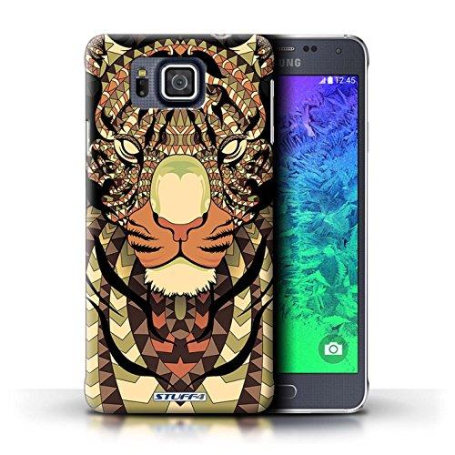 Kobalt® Imprimé Etui / Coque pour Samsung Galaxy Alpha / Loup-Rouge conception / Série Motif Animaux Aztec Tigre-Sépia