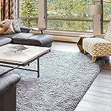 Hochflor Langflor Shaggy in Grau unifarbe in 170x230 Wohnzimmerteppich Kuschelteppich