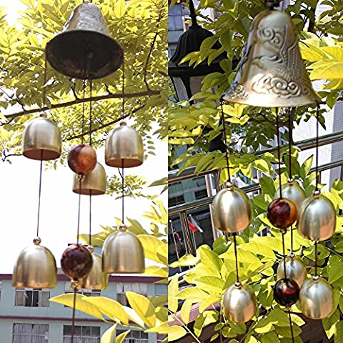 Sunfire Chimes Windbell Woodstock Bead Hanging Greco Home Outdoor Indoor Decoration 5 Bells Gragon Gift 15inch