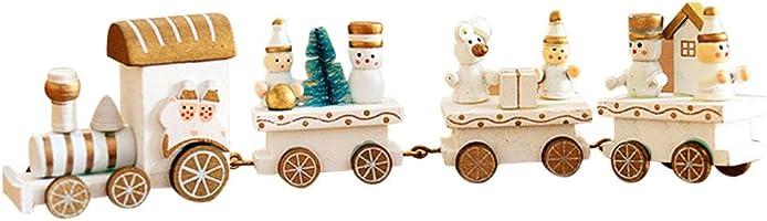 Pequeño tren de Navidad, Holacha Decoraciones de navidad Hecho de maderas para Niños Jardín de infancia Festivo