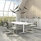 Weber Büro EASY Konferenztisch 240x120 cm Weiß mit ELEKTRIFIZIERUNG Besprechungstisch Tisch, Gestellfarbe:Weiß