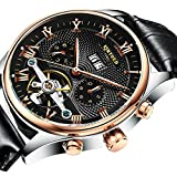 MagiDeal KINYUED Men's Luxury Automatic Mechanical Sports Watch Genuine Leather Strap Wristwatch - black
