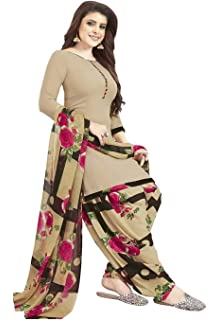Ishin Synthetic Beige Printed Unstitched Salwar Suit Dress Material With Dupatta