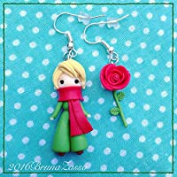 Orecchini di Fantasia Ispirati al Piccolo Principe Cute Little Prince Earrings Fimo Polymer Clay Kawaii Rosa Rose Red Rossa Handmade Fantasy