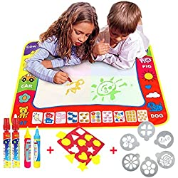 Water Doodle Magic Mats For Kids 80cmx60cm,TQP-CK Water Drawing Mat 4 Colours Child Painting Play Learning Magic Water Doodle Painting Pen With 4 Doodle Painting Pens