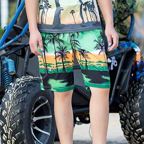 YoungSoul Herren Badeshorts mit Palmen Bedruckt - Surfer Badehosen Knielang - Schwimmshort Boardshorts Sommer Strand Grün