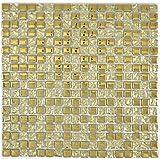 Mosaik Fliese Transluzent Glasmosaik Crystal EP Gold Glas für WAND BAD WC DUSCHE KÜCHE FLIESENSPIEGEL THEKENVERKLEIDUNG BADEWANNENVERKLEIDUNG Mosaikmatte Mosaikplatte