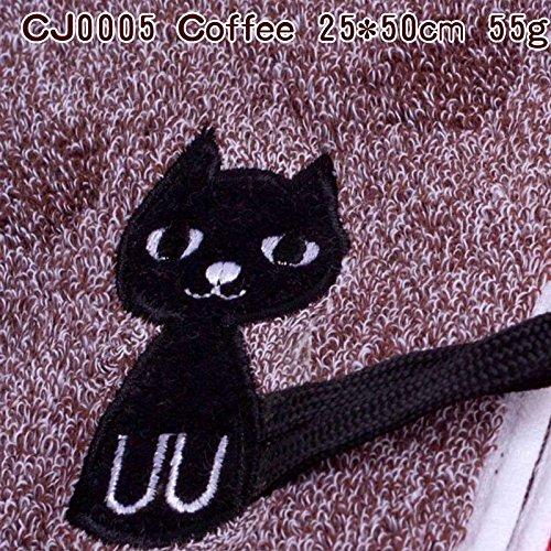 junchen Torchon Coton Enfant serviette de la mode cartoon chat Serviettes libre verschiffen Serviette Visage Profondeur couleur, cj0005 Café, 25 x 50 cm