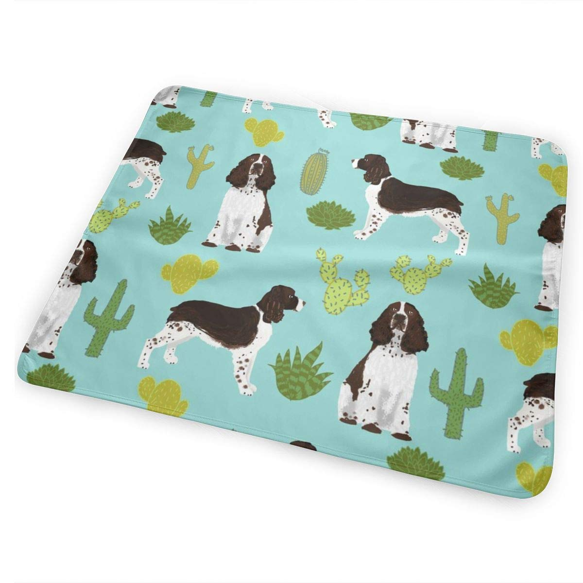 English Springer Spaniel Cactus Fabric Dog Design Dog Fabric Dog Print English Springer Spaniel Dog Design Baby Portable Reusable Changing Pad Mat 25.5″x 31.5″