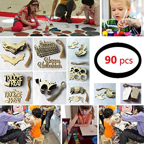 ck Halloween Holzspäne Baum Ornamente Hängende Anhänger Holz Hängende Ornamente Basteln Dekoration für Kinder Geschenke Halloween Ornamente Festival Party Supplies ()