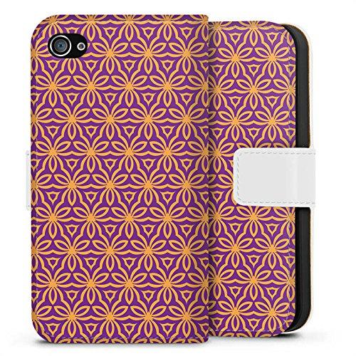 Apple iPhone X Silikon Hülle Case Schutzhülle Blumen Illusion Muster Sideflip Tasche weiß