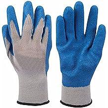 Látex Builders guantes con acabado arrugado carcasa de polialgodón–de calibre 10guantes grandes con acrílico maletero, latex-dipped Palm para protección integral a la mano. Ropa de trabajo de accesorios