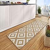 HANSE Home Design Velours Küchenläufer Raute Beige 67x180 cm KüchenläuferLäuferTeppichläufer, Polyamid, Creme, 67 x 180 x 0.8 cm