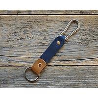 Blaues und Hellbraunes Leder Karabiner Schlüsselanhänger Ringhalter Klammer Schlüssel Karabiner-haken Geschenk Schlüsselband Anhänger