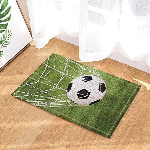 fdswdfg221 Fußball in Einem Netz auf der Wiese Badteppiche für Badezimmer Rutschfeste Bodeneingänge Outdoor Indoor Haustürmatte Kids Badmatte grün schwarz weiß