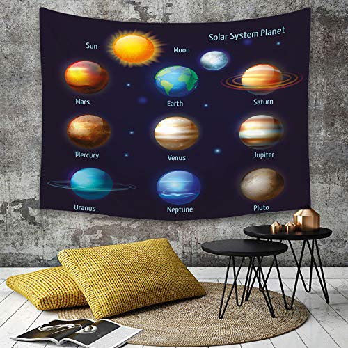 Tapestry, Wall Hanging, Bildungs-, Sonnensystem-Planeten und die Sonnen-Piktogramme stellten astronomisches bun,wall hanging wall decor, Bed Sheet, Comforter Picnic Beach Sheet home décor 130 x 150 cm