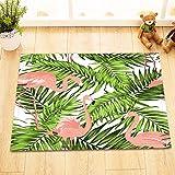 Dschungel Palmblätter Flamingos Muster Grün rosa/Dekor Badematte rutschfest waschbar weich Duschdecke 40X60 CM
