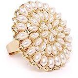 Zaveri Pearls Gold Tone Pearls Flower Ethnic Finger Ring For Women-ZPFK9537