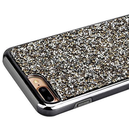 iPhone 7 Hülle, Yokata 2 im 1 Case Glitzer Bling Diamant 2 Layer Cover Innere Weich Silikon Backcover mit Hart PC Rüstung Armor Case Schutz Anti-stoß Schutzhülle + 1 x Kapazitive Feder Schwarz