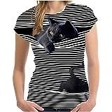 DeaAmyGline T-Shirt à Imprimé Chat 3D pour Femme Tee Shirt DéContracté à Imprimé à Col Rond Sweatshirt Top Manches Courtes To