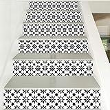 KLMQT Autocollant Mural 6Pcs Carrelage Mosaïque Mur Autocollants Escalier Auto-Adhésif Imperméable PVC Autocollant De Mur Cuisine Autocollants en Céramique Décoration De La Maison