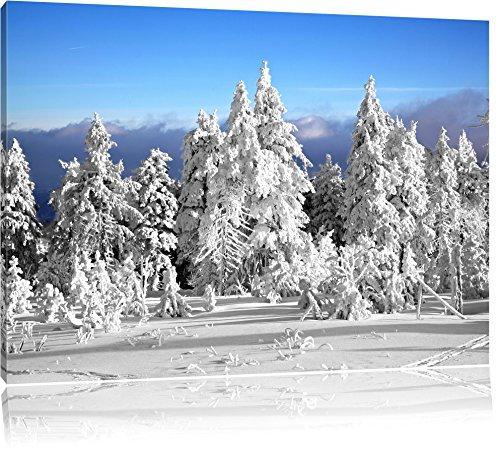 Winter Wunderland am späten Nachmittag schwarz/weiß Format: 120x80 auf Leinwand, XXL riesige Bilder fertig gerahmt mit Keilrahmen, Kunstdruck auf Wandbild mit Rahmen, günstiger als Gemälde oder Ölbild, kein Poster oder Plakat - Nachmittags Leinwand