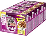 Whiskas Katzen-/Nassfutter Ragout Junior <1 Geflügelauswahl in Gelee, 48 Portionsbeutel (4 x 12 x 85g)