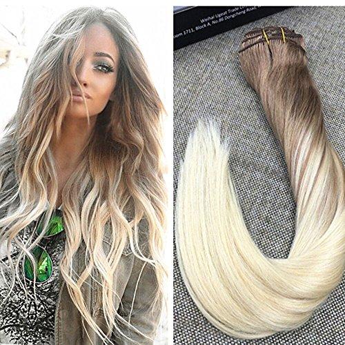 Ugeat 22 Zoll #8/8/613 Hellbraun mit Bleichmittel Blond Balayage Hair Extensions Clip in 9 Pcs 120g Voller Kopf Brasilianisch Remy Echthaar Tressen