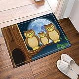 Rrfwq Drei Eulen hockten auf Bäumen bei Nacht Bad Teppiche rutschfeste Boden Eingänge Outdoor Indoor Haustür Matte 60X40CM Badematte Badezimmer Teppiche