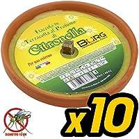 Bakaji Juego de 10 X Fiaccola Vela Aroma a Citronela Cocci Terracota Mosquitos Líquido de Diámetro 17 cm