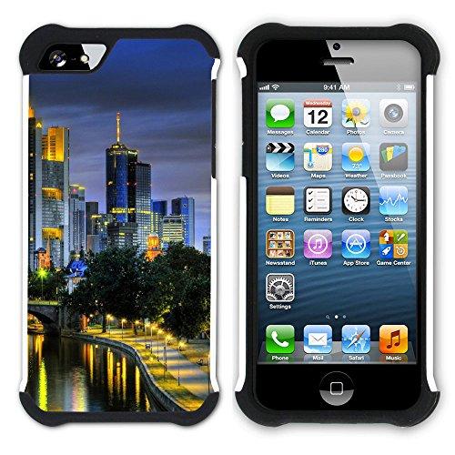 Graphic4You Frankfurt Deutschland Postkarte Aussicht Hart + Weiche Kratzfeste Hülle Case Schale Tasche Schutzhülle für Apple iPhone SE / 5 / 5S Design #6