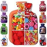 Wärmflaschenbezug 1L, mit und ohne Wärmflasche 1 Liter, Auswahl: Bonbon, mit Wärmflasche