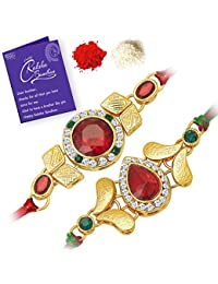Sukkhi Cluster Rakhi Combo (Set of 2) with Roli Chawal and Raksha Bandhan Greeting Card for Men